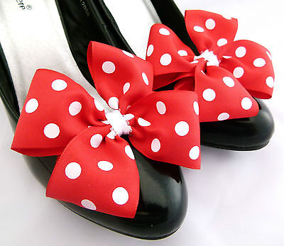 Minnie Mouse Shoe Clips For Shoes Fancy Dress Polkadot Bows Red White Spots - White Fancy Shoes