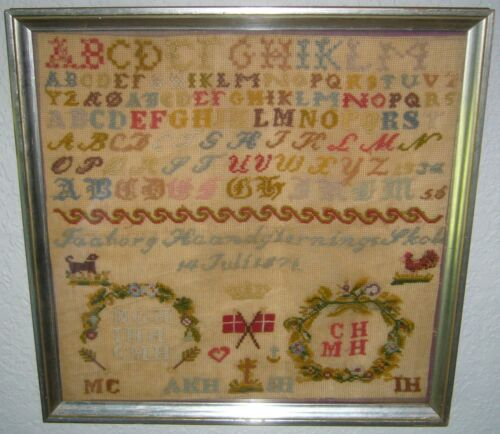 ANTIQUE1872 DANISH SCHOOL HAND STITCHED EMBROIDERY ALPHABET & ANIMAL SAMPLER