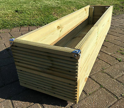 4ft JUMBO EXTRA LARGE Long Wooden Planter Trough Decking Garden Flower Plant Tub