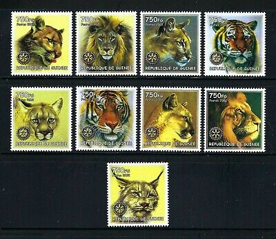Guinea 2002  Felins-Felines/Wild Cats/Rotary International Symbol  MNH Set