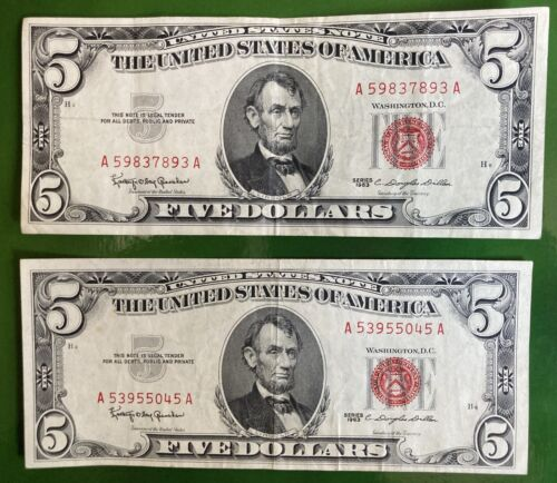 2 1963 US 5 RED Seal Notes AA Block US Paper Money - $20.00