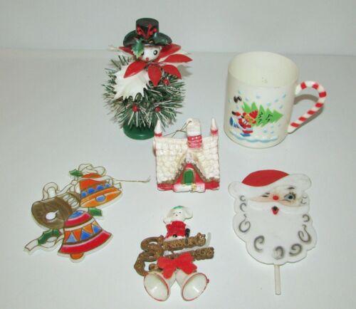 Mixed Lot Vintage Christmas Kitsch Church Ornament Plastic Cup Snowman Figure