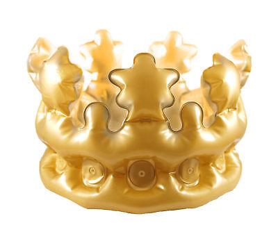 Aufblasbar Kinder Gold Krone - Kostüm Zubehör Verkleidung King Spielzeug Party