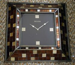 BULOVA  LARGE 22 SQUARE WALL CLOCK -BURNISHED BRONZE FINISH C4105