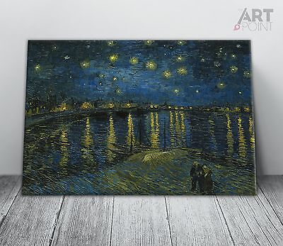 (Vincent Van Gogh Starry Night Over Rhone canvas Print Framed Wall Art Picture)