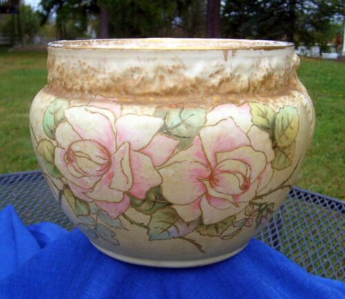 Large Antique Warwick Semi-Porcelain Roses Jardinière Hand-Painted