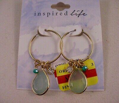 Gold Drop Dangle Hoop Earrings Blue Teardrop Accent Crystal Beads Macy's