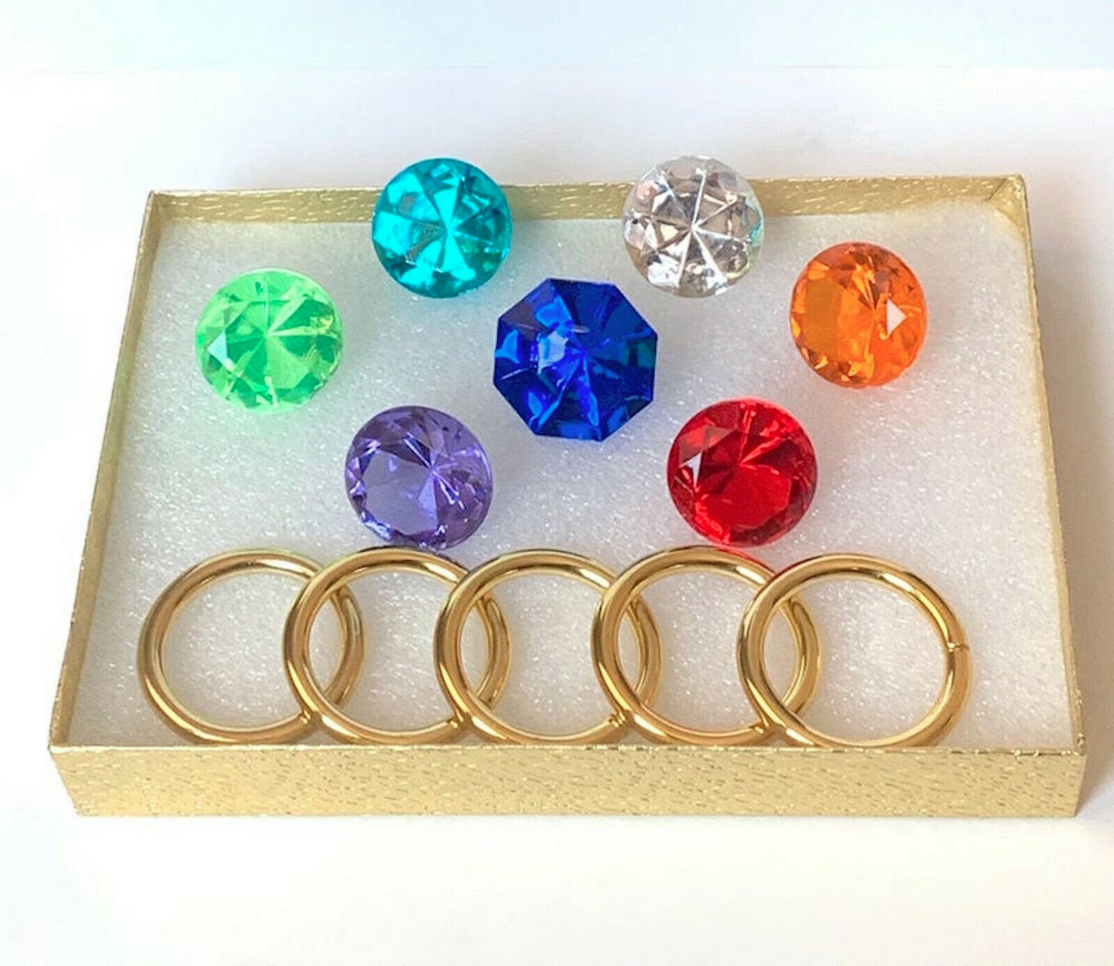 7 Chaos Emeralds & 5 Power Rings - SONIC - IN A GIFT BOX