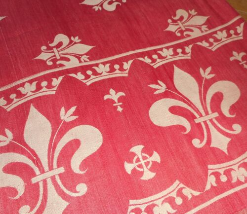 Antique French Fleur Lis Crown Maltese Turkey Red Damask Fabric Cover ~ Cutter