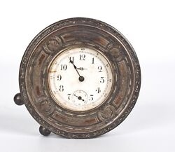 An Antique Sterling Silver Mounted Desk Clock