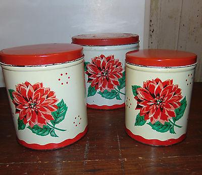 Vintage Metal Canister Set of 3 White w/ Red Azalia Flowers Mid Century Rustic