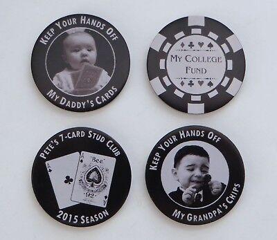 Metal Poker Themed Chip Card Guard - Free 2-sided Custom Photo Engraving](Custom Photo Cards)