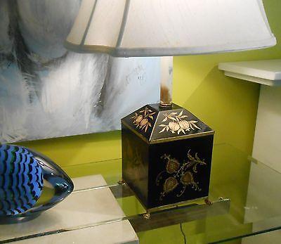 Vintage Italian Black Tole Cannister Shape Table Lamp w /gilt floral decoration