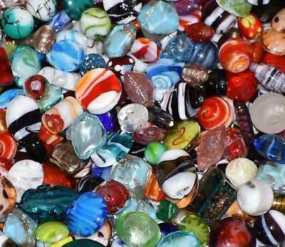 (Lampwork Beads, 1 LB  Bulk, Mixed Style & Colors, Handmade Glass)