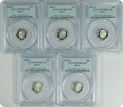 Click now to see the BUY IT NOW Price! 2005-09-S 5 SET OF COINS PCGS PR70DCAM SILVER