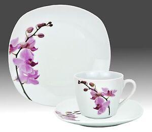 Kaffeeservice 18-tlg. Kyoto Orchidee eckig Porzellan 6 Personen weiß Dekor Tasse