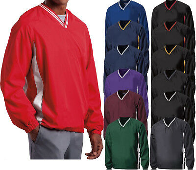 Mens Wind Shirt Windbreaker Jacket Lined V-Neck Pockets Pullover XS-XL 2X 3X 4X ()