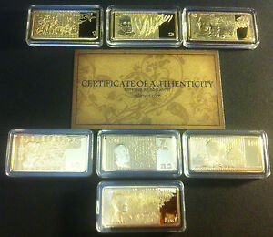 NEW-7-x-10g-Certifd-OLD-AUSTRALIAN-NOTE-SERIES-Ingots-999-Fine-Gold-Layered