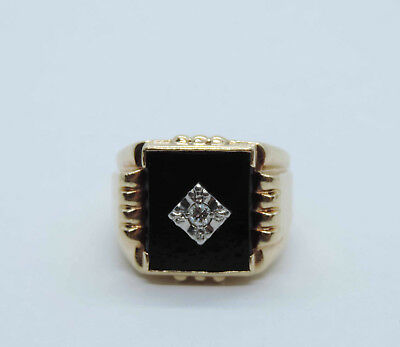 Men's Square Onyx Ring With Genuine Solitaire Diamond Accent - 10K Yellow Gold 10 Genuine Onyx Ring