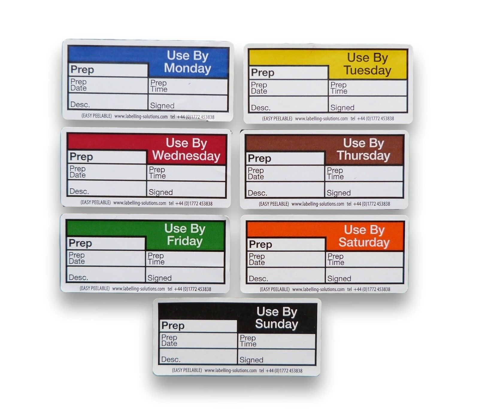 100 EACH 60MM X 25MM 7 DAYS COLOUR CODED FOOD LABELS FOR