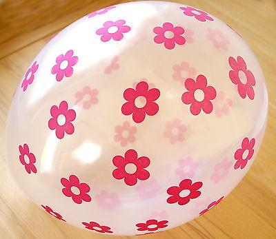 10 Transparente Ballons mit bunten Blumen Dekoration zum Kinder-Geburtstag Latex