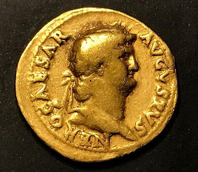 ANCIENT ROMAN GOLD COIN; NERO GOLD AUREUS 54-68 A.D.; SCARCE COIN!
