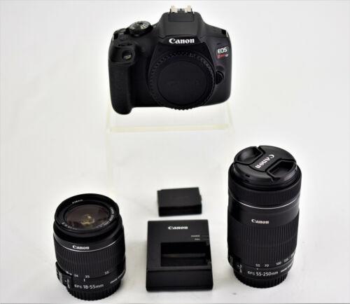 Canon EOS Rebel T7 DSLR Camera 24.1MP 2 Lens Kit - 18-55mm & 55-250mm Black