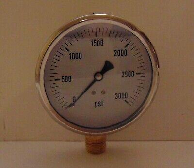 New Hydraulic Liquid Filled Pressure Gauge 0-3000 Psi 4 Face 12 Npt Lm