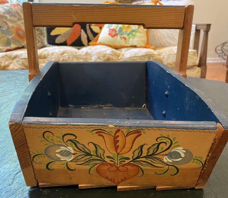 Vintage Wood Tole Painted Wood Harvest Basket Americana Farmhouse SIGNED -- USA