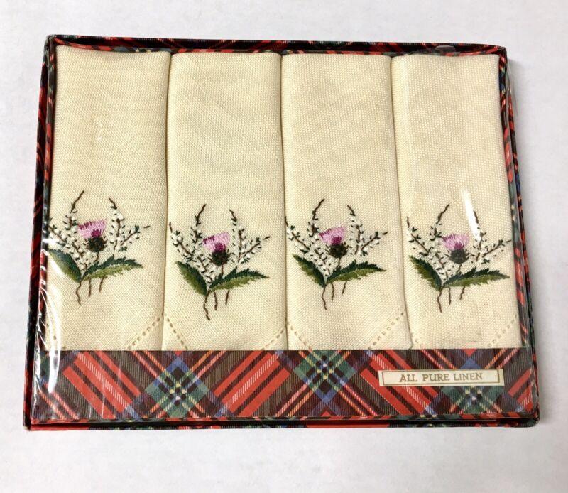 New Vintage Set 4 Thistle Hand Embroidered Irish Linen Afternoon Tea Napkins NOS