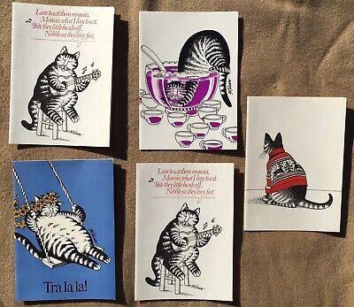 Lot Of 5 Vtg 70's B. Kliban Cat Greeting Cards Unused Envelopes