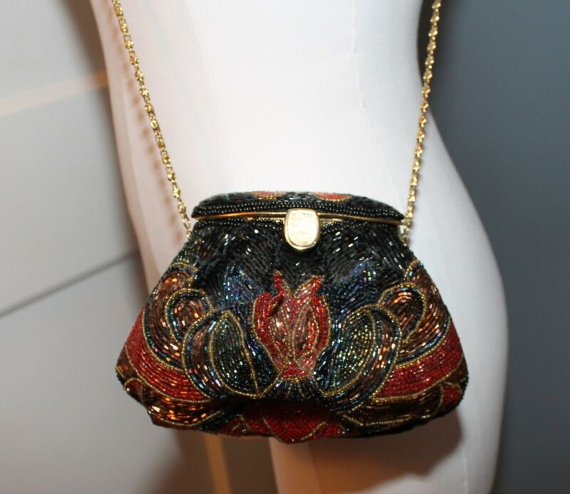 70s Does 20s Beaded Art Deco Small evening Bag Purse Long Gold Chain Flapper