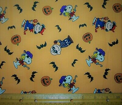1 yard of PEANUTS TOSSED HALLOWEEN CHARACTERS on 100% Cotton Fabric CHARLEY LUCY
