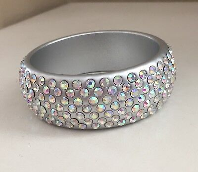 Chunky Silver Tone Bangle Bracelet With Iridescent Rhinestones ~ Sparkly Bling ~