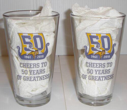 2 NFL Miller Lite MN Vikings 50 Years Of Greatness Beer Glasses