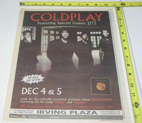 Coldplay Concert + Album AD Advert 2001 Parachutes Tour Irving Plaza New York NY