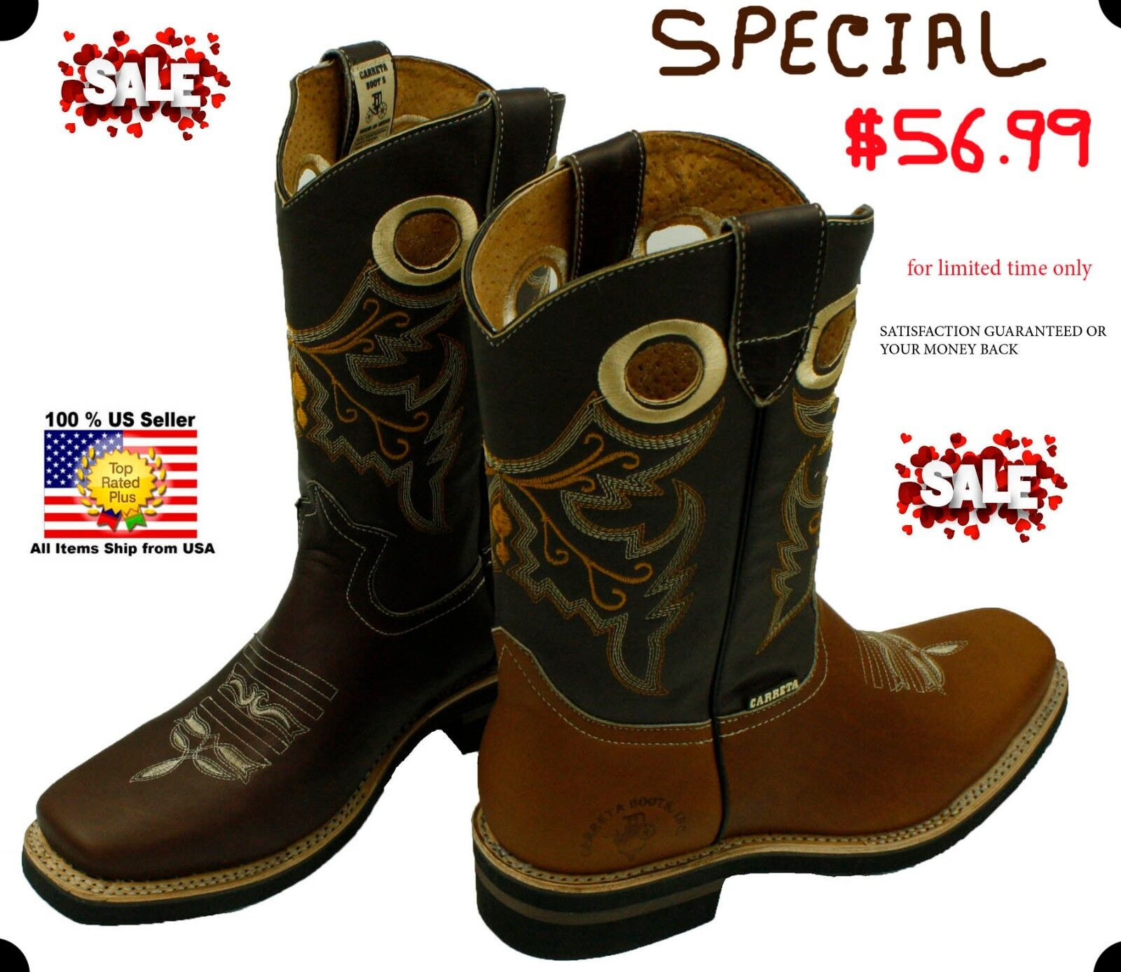 MEN'S RODEO COWBOY BOOTS GENUINE LEATHER WESTERN SQUARE TOE BOTAS-601