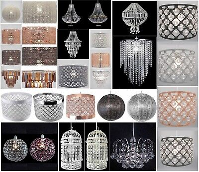 - Chandelier Style Ceiling Light Shade Droplet Pendant Acrylic Crystal Bead Luxury