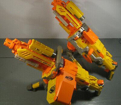 2 NERF N-STRIKE VULCAN EBF-25 SOFT DART GUNS w AMMO BELT TRIPODS WORKS LOT T