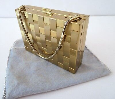 1940s Handbags and Purses History VTG 1940s Gold Tone Compact Evening Purse Minaudiere Basketweave Pattern Pouch $50.00 AT vintagedancer.com