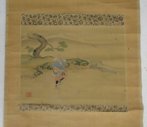 Antique Vintage Japanese Scroll Painting of a Lohan Immortal on Silk