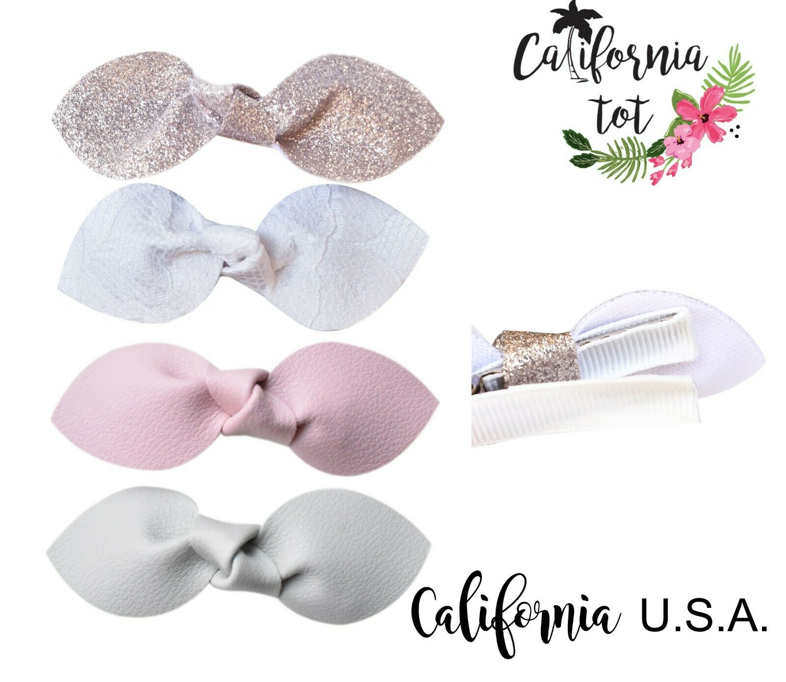 California Tot Premium Faux Leather Bow Hair Clips for Toddl