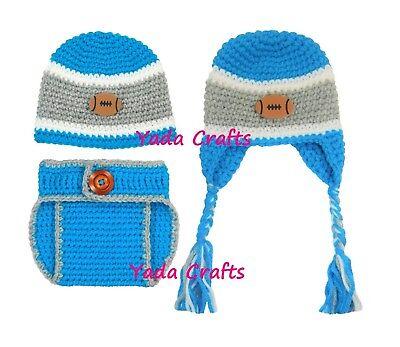 Baby newborn Hat diaper cover set/Football team/Earflap Hat/Costume hat](Newborn Football Costume)