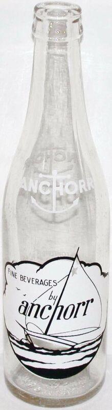 Vintage soda pop bottle ANCHOR BEVERAGES sailboat pictured 12oz 1949 Dayton Ohio