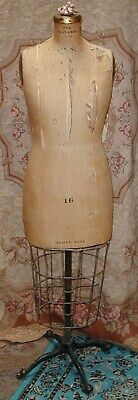 Antique Edwardian Dress Form The Standard Metal Cage Rolling Stand 16