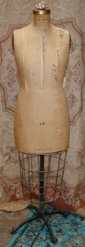 """Antique Edwardian Dress Form """"The Standard"""" Cloth w Metal Cage,Rolling Stand 16"""