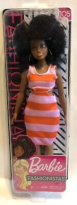NEW HTF Barbie Fashionistas AA Curvy Doll 105 w/ Afro 2018 2019 for OOAK Natural