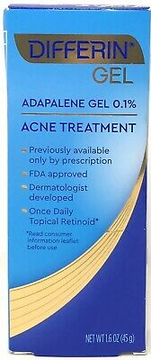 Differin Adapalene Gel 0.1% Acne Treatment, 1.6 OZ (45g) Exp: 2021+