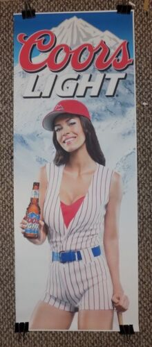 Large COORS LIGHT Beer POSTER Sexy Woman in Baseball Uniform, Cleavage - Rare !