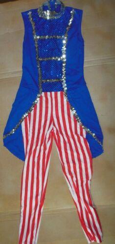NWOT Toy Soldier Nutcracker wTails Spandex Dance costume sequin trim zipper back